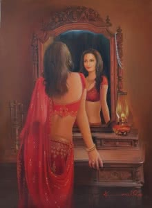 Figurative Oil Art Painting title 'Reflection' by artist Kamal Rao