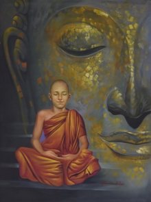 Kamal Rao Paintings | Oil Painting - Monk and the Master by artist Kamal Rao | ArtZolo.com