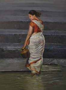 Figurative Oil Art Painting title 'Lady' by artist Kamal Rao