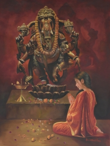 Religious Oil Art Painting title 'Devotee' by artist Kamal Rao