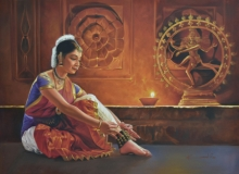 Religious Oil Art Painting title 'Natraj' by artist Kamal Rao