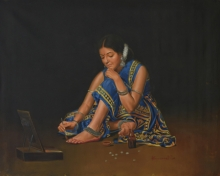 Figurative Oil Art Painting title 'Sajawat' by artist Kamal Rao