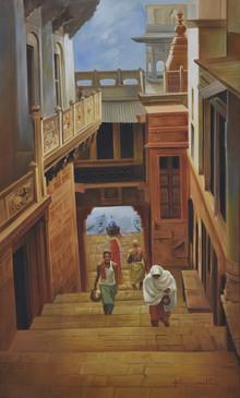 Landscape Oil Art Painting title Banaras Ghat by artist Kamal Rao