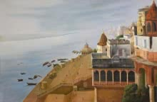 Religious Mixed-media Art Painting title 'Banaras Ghat' by artist Kamal Rao