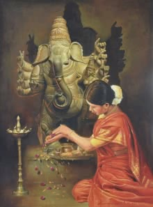 Minimalist Oil Art Painting title 'Ganesha Devotion' by artist Kamal Rao