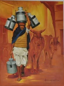 Figurative Oil Art Painting title 'Milkman' by artist Kamal Rao