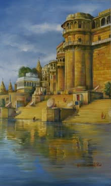 banaras ghat,banaras,varanasi,benaras,water,reflection,kamal rao,oil on canvas,benaras ghat