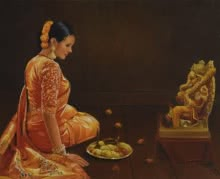 Religious Oil Art Painting title 'Devotion' by artist Kamal Rao