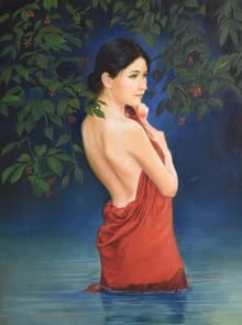 Figurative Oil Art Painting title 'Blossom' by artist Kamal Rao