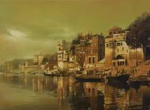Banaras Ghat 2 | Painting by artist Kamal Rao | oil | Canvas