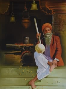 Shiv Bhakt | Painting by artist Kamal Rao | oil | Canvas