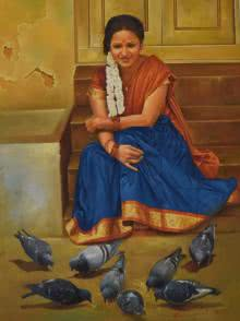 Figurative Oil Art Painting title 'Lady with Pigeons' by artist Kamal Rao