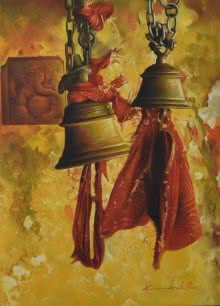 Religious Oil Art Painting title 'Temple Bells' by artist Kamal Rao