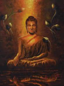 Religious Oil Art Painting title 'Buddha Reflection' by artist Kamal Rao