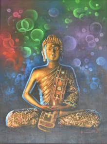 Religious Oil Art Painting title 'Buddha Bronze' by artist Kamal Rao
