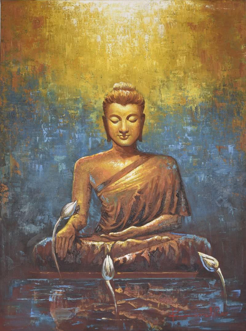 Buddha by artist kamal rao oil paintings for Buddha mural paintings