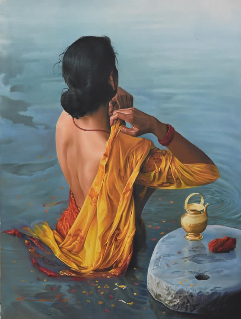 Lady By Artist Kamal Rao Artzolo Com