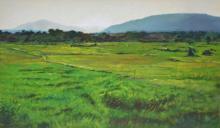 Landscape Oil Art Painting title 'Green Heaven' by artist Sachin Sawant