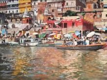 Cityscape Oil Art Painting title 'Ganga Bhraman' by artist Sachin Sawant