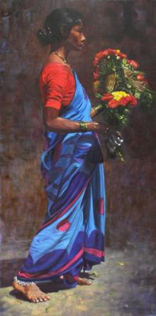 Realistic Oil Art Painting title 'Modesty' by artist Vivek Vadkar