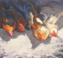 Animals Oil Art Painting title 'M Dearly Loved' by artist Vivek Vadkar