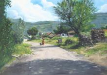 Landscape Oil Art Painting title 'A Gleeful Village' by artist Vivek Vadkar