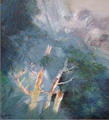 Nature Acrylic Art Painting title 'Tempest' by artist Joychandra Sharma