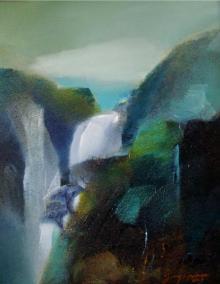 Nature Acrylic Art Painting title 'Landscape' by artist Joychandra Sharma