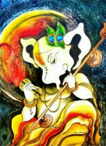Ganesha Oil Painting by Mohammed Shakeel Saifi