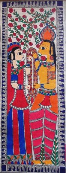Religious Acrylic Art Painting title 'Ram Sita' by artist Preeti Das