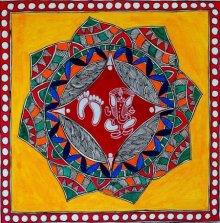 Religious Acrylic Art Painting title 'Ganesha' by artist Preeti Das