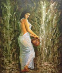 Manoj Sen Paintings | Acrylic Painting - Bathing Woman by artist Manoj Sen | ArtZolo.com