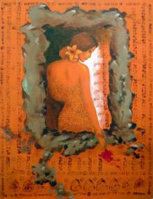 Manoj Sen Paintings | Acrylic Painting - Beautiful Woman by artist Manoj Sen | ArtZolo.com