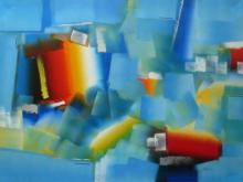 Rashmi Parmar Paintings | Acrylic Painting - Blue Abstract by artist Rashmi Parmar | ArtZolo.com