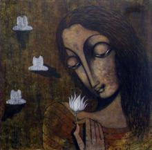 Manoj Aher Paintings | Acrylic Painting - Devotee Of Buddha by artist Manoj Aher | ArtZolo.com