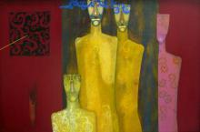 Figurative Acrylic Art Painting title Family by artist Samar Singh