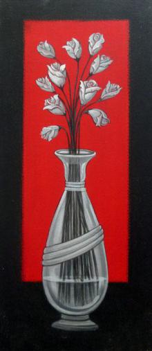 DM Ajankar Paintings | Acrylic Painting - Flower Vase by artist DM Ajankar | ArtZolo.com