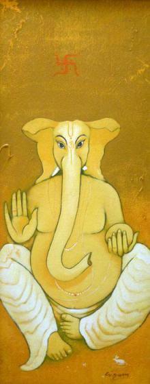Religious Acrylic Art Painting title 'Ganesha' by artist Giram Eknath