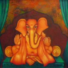 Manoj Aher Paintings | Acrylic Painting - Ganesha Giving Blessing by artist Manoj Aher | ArtZolo.com