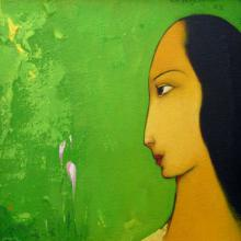 Giram Eknath Paintings | Acrylic Painting - Gazing Woman by artist Giram Eknath | ArtZolo.com