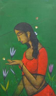 Sanjay Tikkal Paintings | Acrylic Painting - Girl Catching Butterfly by artist Sanjay Tikkal | ArtZolo.com