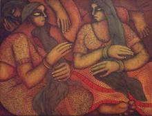 Chitra Mandal Paintings | Acrylic Painting - Gossiping Women by artist Chitra Mandal | ArtZolo.com