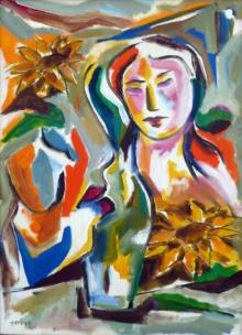 Swami Paintings | Acrylic Painting - Homemaker by artist Swami | ArtZolo.com