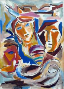 Swami Paintings | Acrylic Painting - Hued Family by artist Swami | ArtZolo.com