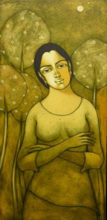 Manoj Aher Paintings | Acrylic Painting - Indian Girl by artist Manoj Aher | ArtZolo.com