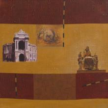 Sanjay Paintings | Acrylic Painting - Indian Monument Wall I by artist Sanjay | ArtZolo.com