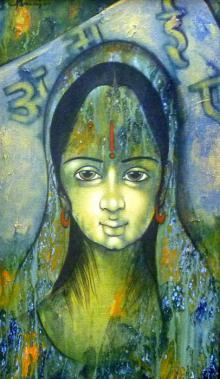 Manoj Aher Paintings | Acrylic Painting - Indian Woman by artist Manoj Aher | ArtZolo.com