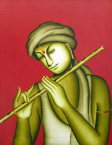 Monica Paintings | Acrylic Painting - Krishna by artist Monica | ArtZolo.com
