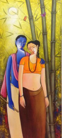 Figurative Acrylic Art Painting title 'Krishna Radha I' by artist Shivkumar