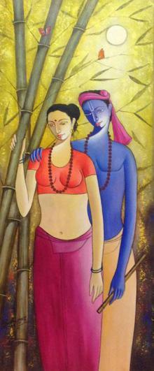 Figurative Acrylic Art Painting title 'Krishna Radha III' by artist Shivkumar